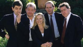 Not the Nine O'Clock News (l to r): Rowan Atkinson, Mel Smith, Pamela Stephenson, John Lloyd, Griff Rhys Jones