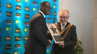 David Harewood given his star on the Birmingham Broad Street walk of fame