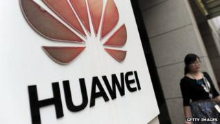 Huawei logo outside company building