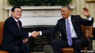 US President Barack Obama meets President Truong Tan Sang of Vietnam in the Oval Office on 25 July 2013 in Washington, D.C