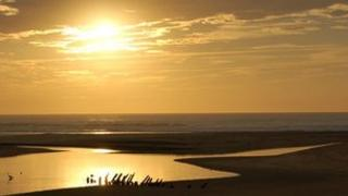 Sunset at the Courant d'Huchet, Landes