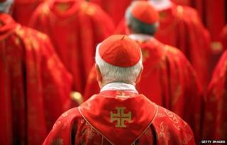 Cardinal dressed in red, photographed from behind