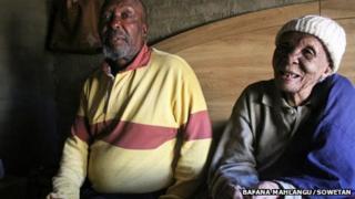 Johanna Mazibuko (R) and her son Tseko Mazibuko