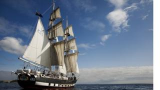 Sea Cadet ship the TS Royalist on the water