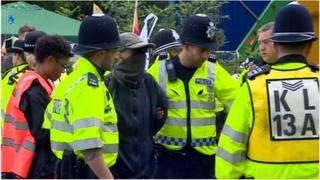 Man arrested at protest
