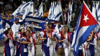 Cuban delegation marches in opening ceremony of Maccabiah Games, Jerusalem (18 July)