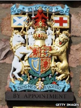 Royal Warrant on a wall outside a shop in Ballater