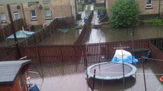 Flooded gardens in Camelon, near Falkirk