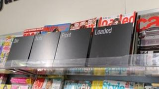 Lads' mags in a Co-op store