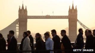 workers crossing London bridge