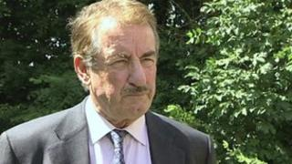 John Challis, who played Boycie in Only Fools and Horses, at Ray Butt's funeral in Ashbocking, Suffolk