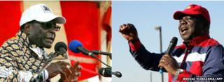 Composite image of Robert Mugabe (left) and Morgan Tsvangirai