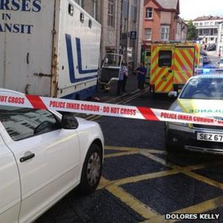 The incident happened in Irish Street at about 14:00 BST