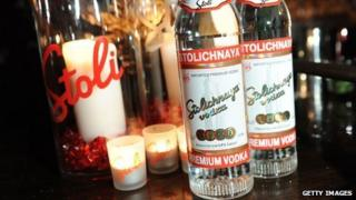 Two bottles of Stolichnaya vodka