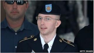Pte Bradley Manning is led out of the courtroom after his espionage conviction in Fort Meade, Maryland 30 July 2013