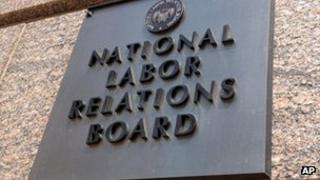 Exterior sign of the National Labor Relations Board in Washington DC file picture