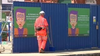 Construction work at Nottingham station