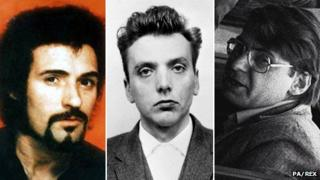 Left-right: Peter Sutcliffe, Ian Brady, Dennis Nilsen