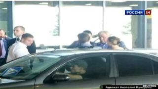 Rossiya 24 TV footage of Edward Snowden leaving Moscow airport