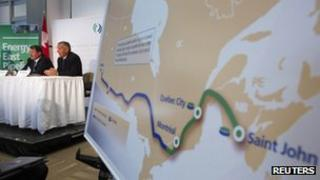 TransCanada announces its Energy East pipeline in Calgary, Alberta, on 1 August 2013