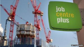 Picture of crane and job centre sign