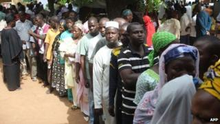 Malians queuing to vote in Bamako - 28 July 2013
