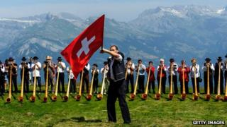 Swiss flag at Nendaz alphorn festival, 28 Jul 13