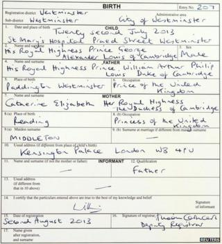 Copy of the birth register for Prince George of Cambridge