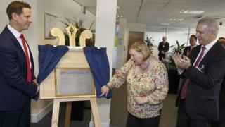 Edwina Hart, minister for economy, opening Logicalis UK Managed Service Centre at Nantgarw, south Wales