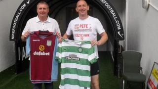 Peter Gough (r) with former Celtic captain Tom Boyd