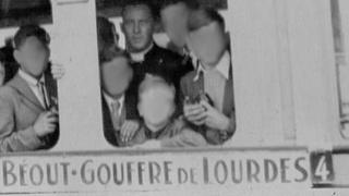 Father John Ryan, photographed in the early 1960s on a trip to Lourdes with some of the residents of St Francis Boys Home