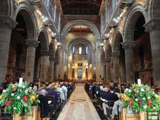 The memorial service was held at St Anne's Cathedral in Belfast