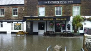 Tywarnahle Inn flooding, August 2013