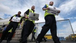 Union members picket outside the Dublin Bus depot on Pearse Street, Dublin