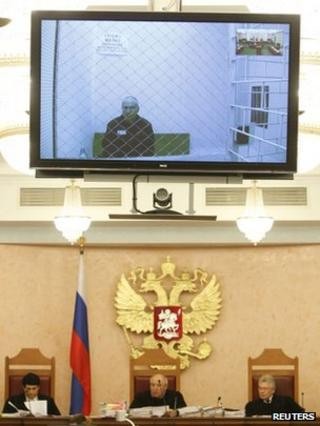 Mikhail Khodorkovsky appears by video link at his appeal hearing in Moscow, 6 August