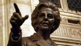 Margaret Thatcher inside the Palace of Westminster, London, on 21 February 2007