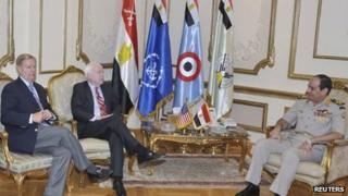 Lindsey Graham and John McCain meet Gen Abdul Fattah al-Sisi in Cairo (6 August 2013)