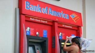 Bank of America ATM with woman