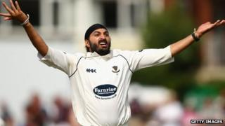 Monty Panesar playing for Sussex against Australia