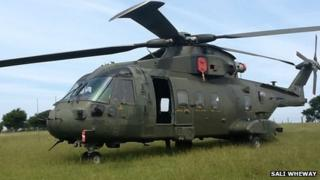 Merlin helicopter in field