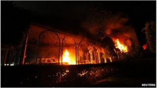 A file photo of the 11 September 2012 attack on the US consulate in Benghazi
