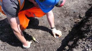 Archaeologist working on the flint discovery in north Woolwich