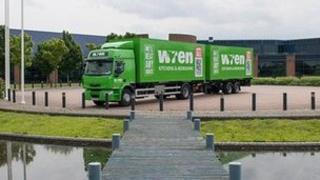 Lorry parked in front of offices