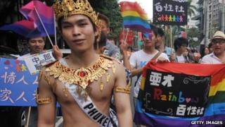 Participants in a gay parade in Taipei in October 2012