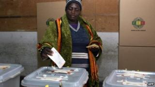 A woman voting in Zimbabwe - 31 July 2013
