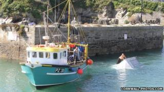 Freedom Surf trailer in Newquay Harbour