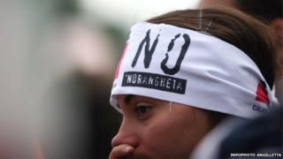 A woman an an anti-Ndrangheta protest 2010