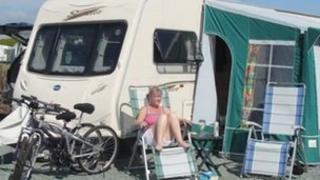 Kath McClelland with stolen caravan