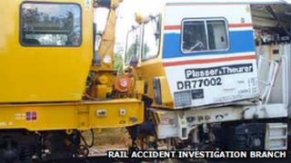 Crash between a railway machine and track maintenance engine