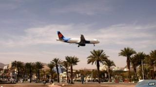 A plane lands to land at Eilat airport in the centre of the Israeli Red Sea resort (file image)